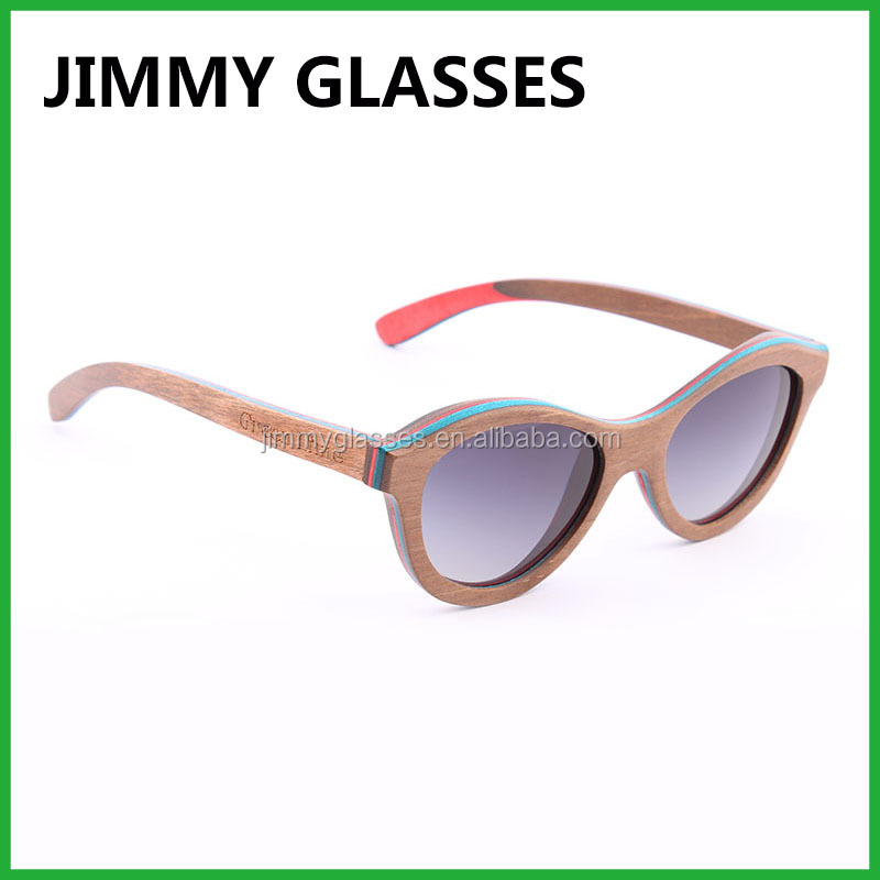 Cat Eye Sunglasses Pouch with Clean Cloth Bag Combination Wooden Sunglasses Women Handmade Skateboard Wooden Sun Glasses