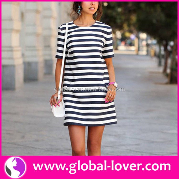 Small moq wholesale ladies summer cotton black and white stripe shift dress