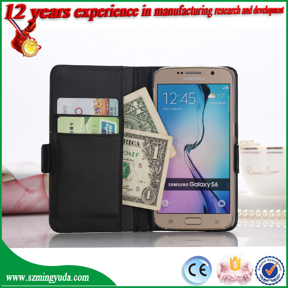 China Factory Pu leather case for samsung s6 case , flip leather stand wallet slot case for s6 edge