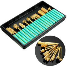 12pcs/set golden electric nail file for manicure nail drill machine file/ diamond bits electric nail file