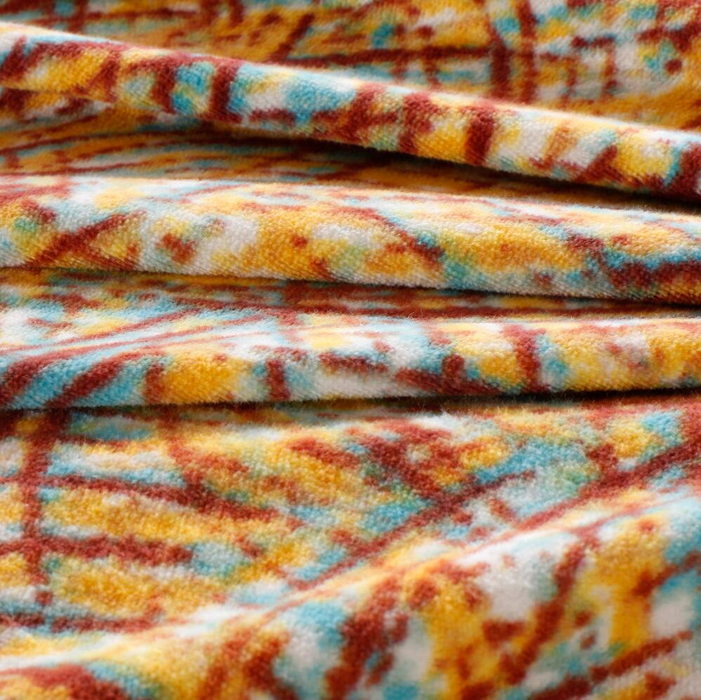 100% cotton knitted dyed and printed raschel fabric textile
