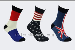 2016 Yhao Spandex/Polyester/Cotton Material and Unisex Gender Flag Socks