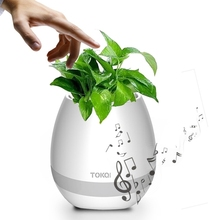 New Dropshipping TOKQI K3 Waterproof Egg Shell smart music flower pot speaker with Light Touch Plant for Home Office Decoration