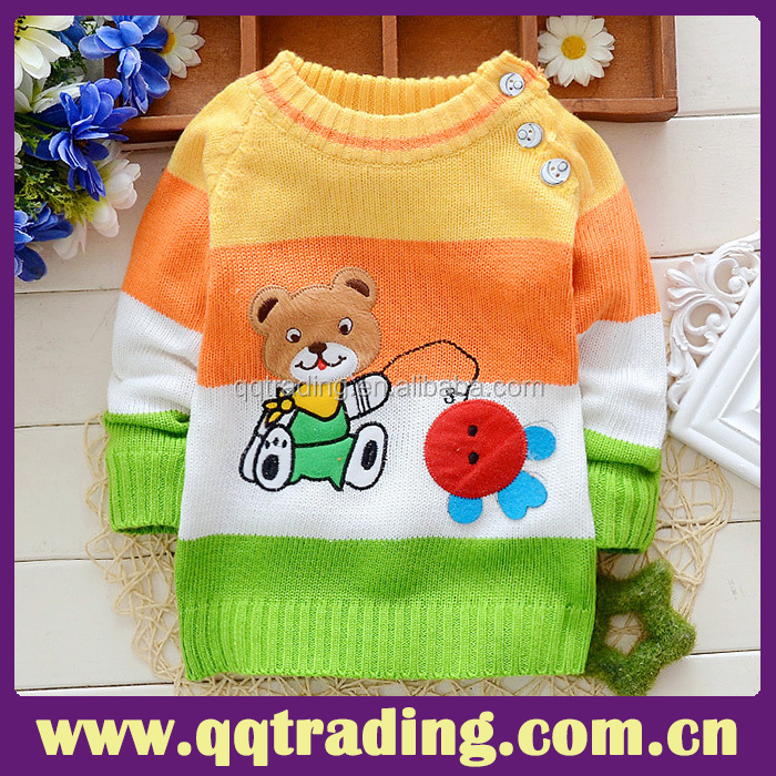 OEM manufacture china supplier knitting patterns cartoon wholesale children sweater