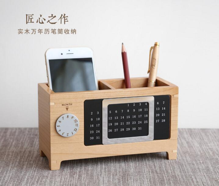 Customized Unfinished Natural Wooden pen holder in Display