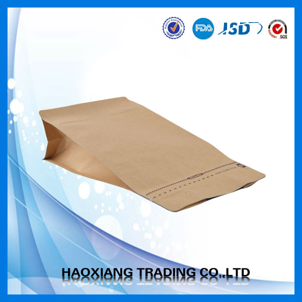 Flat bottom stand up dried herb packaging bag, square bottom paper pouch for packaging