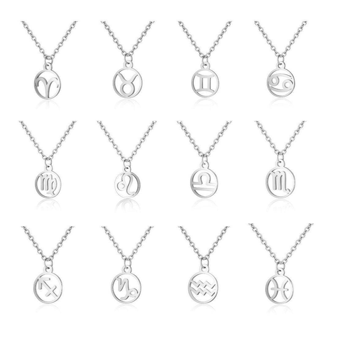 2019 Titanium steel jewelry necklace star sign hot 12  zodiac necklace stainless steel pendant necklace