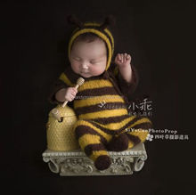 Newborn mohair bees clothes photo props Baby knit jumpsuit photography props