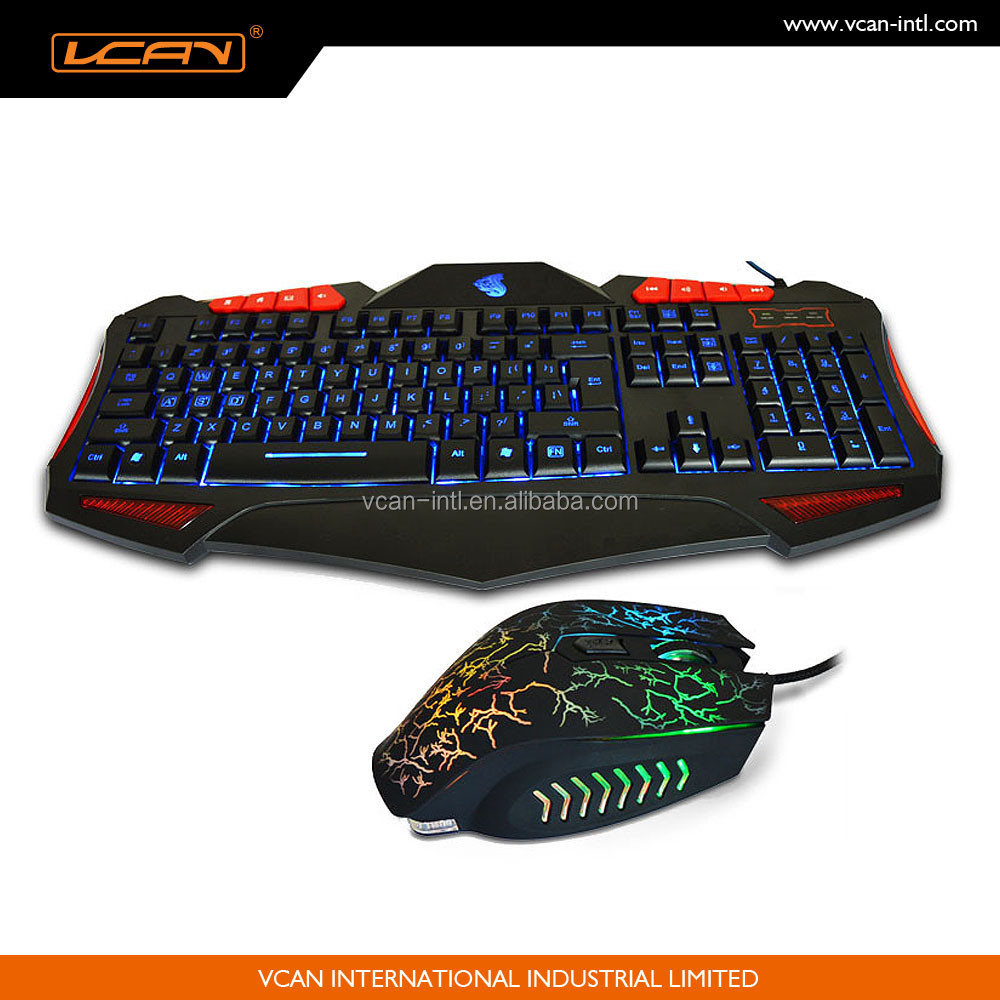High quality Factory Wired Gaming Keyboard and Mouse Combo with LED Backlit