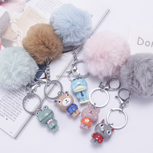 keychain picture holders,keychain monkey fist,cartoon full ball key ring(SWTFF658)