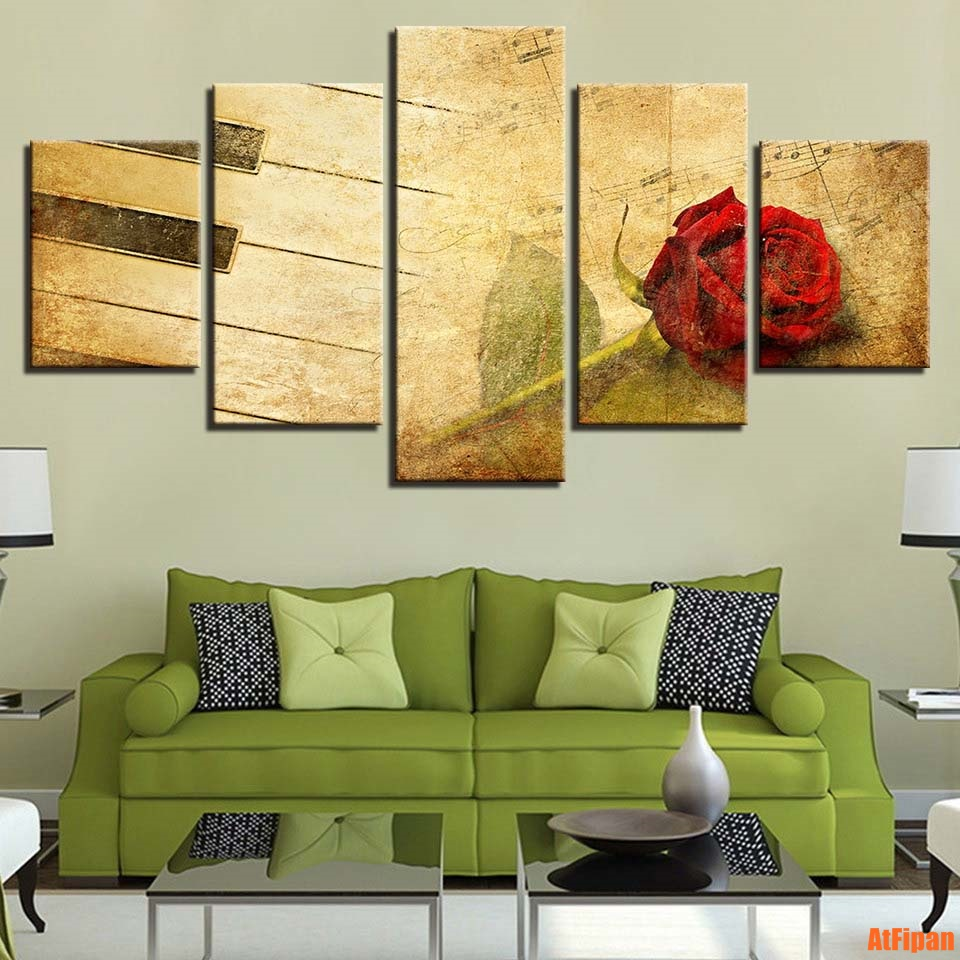 Print Modular Painting Poster Unframed 5 Panels Red Rose Music Score ...