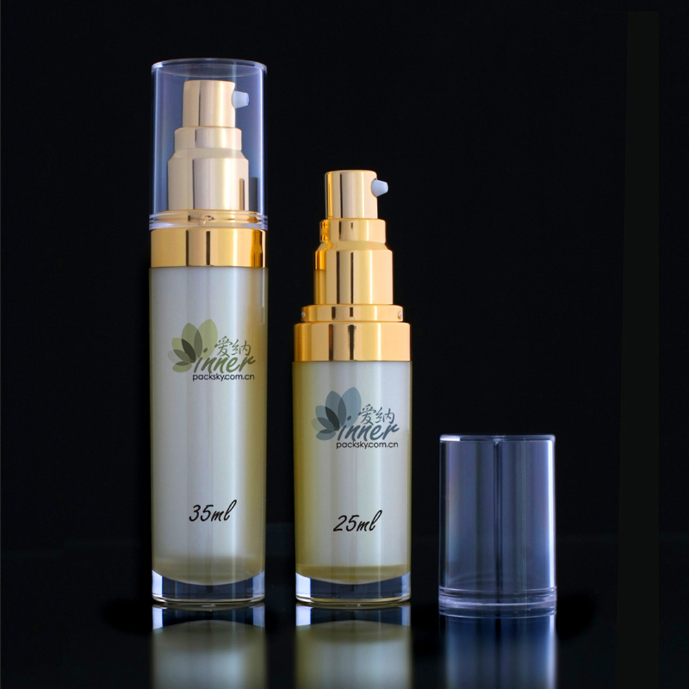 35ml Acrylic Serum Bottle with Gold chrome