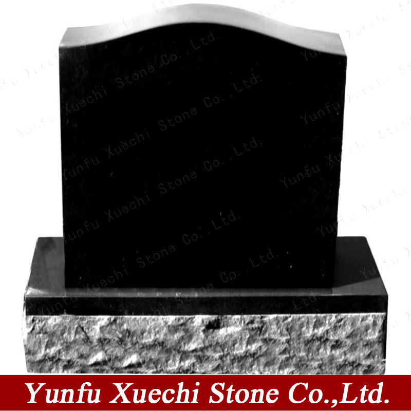 High polished American style zimbabwe black granite grave tombstone