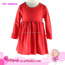 Baby red solid color girls cotton frock designs night skirt girls mini skirt pictures kids party wear dresses