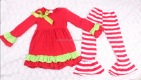 wholesale children's boutique clothing red ruffle dress top with ruffle pants outfit set girls latest casual wear