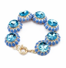 Glitter Big Stone Chain Linked Bracelet Crystal Flower Lobster Snap Wristband For Ladies