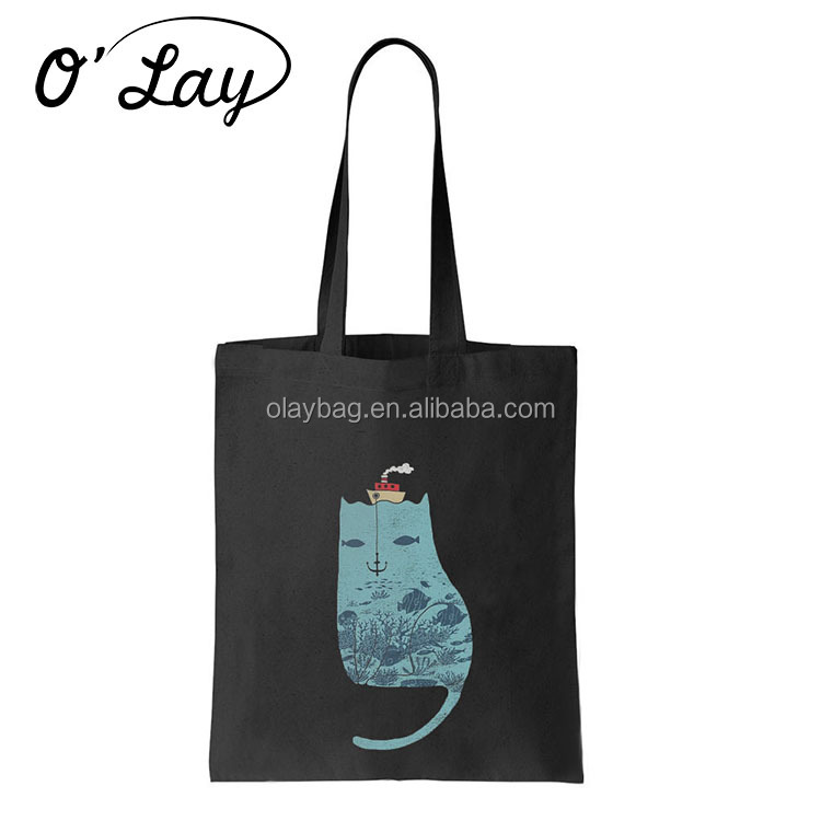 Fashionable Cool Handmade Black Hot Stamping Gold Printing Cotton Tote Bag