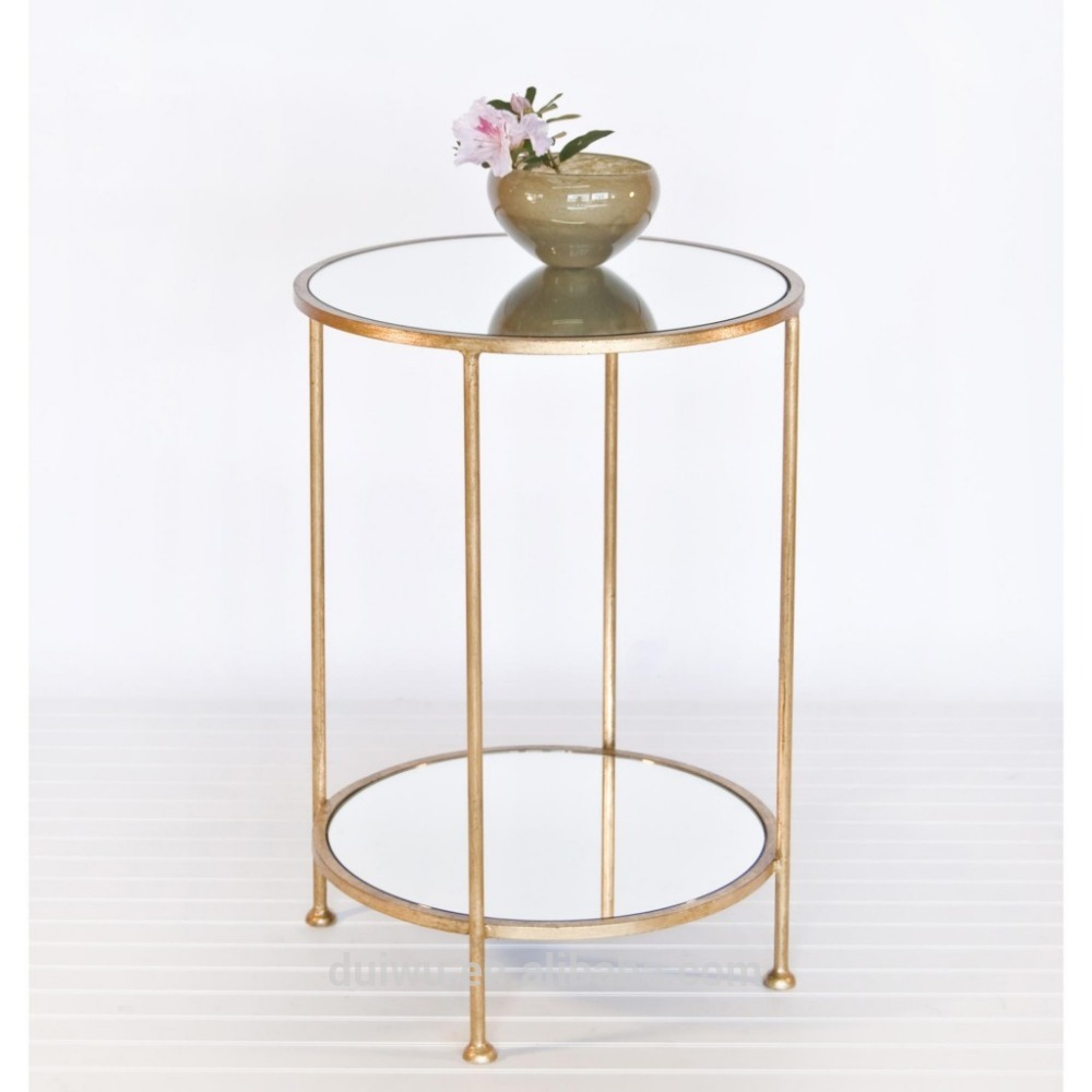 Factory hot sale living room decorative small round gold side table