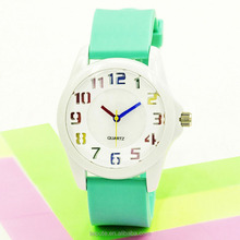 Wholesale Popular Geneva Silicone Rubber Candy Watch Unisex Ladies Colorful silicon Jerry wrist Watch