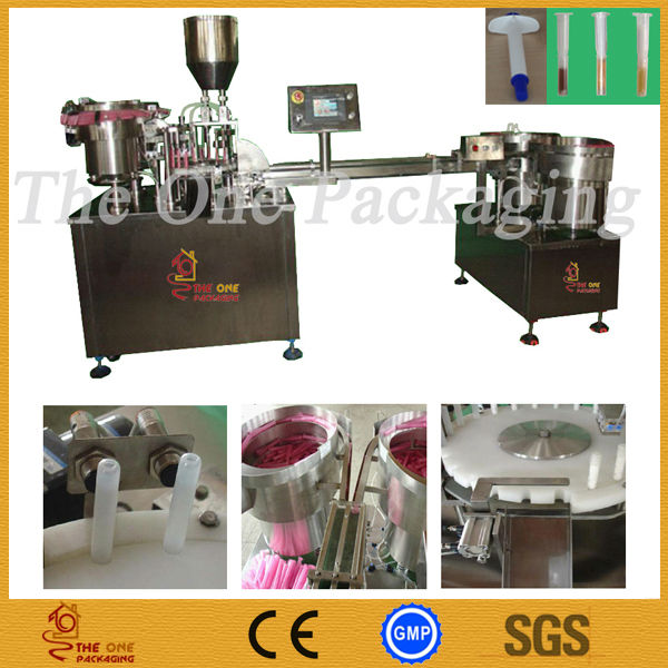 Automatic gel syringe filling machine for disposable syringe