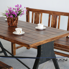 SUMJOY High end industial dining table quality live pine wooden dining table