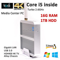 Media Center Mini Desktop Gaming PC HTPC Core i5-4200U fanless 16G RAM 1TB HDD Gigabit rj45+USB3.0+HD 4K TV+DHL Free Shipping