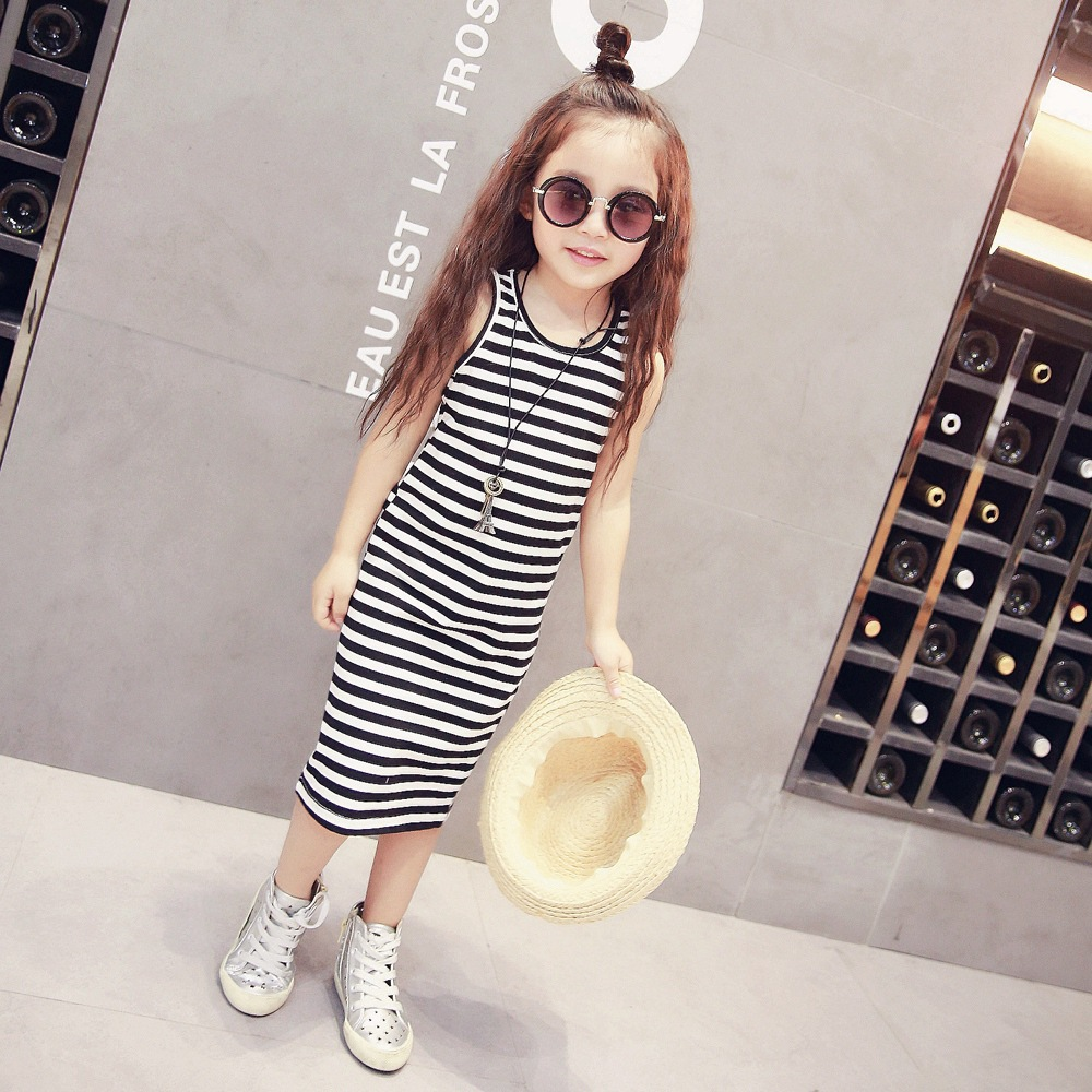 YDA2176summer kid dress striped o-neck sport girl dress