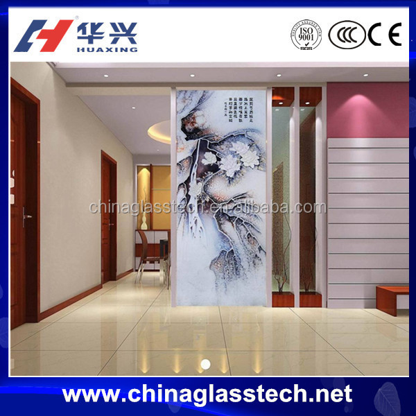 Decorative Colored Glass Living Room Kitchen Partition