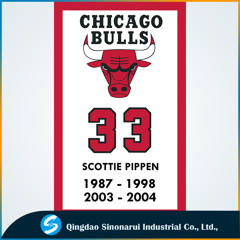3x5ft polyester Chicago Bulls basketball #33 Scottie Pippen flags