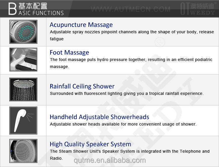 2016 hot sale 6mm tempered glass Acrylic tray portable steam shower room