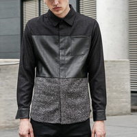 Latest Fashion Black 100% Cotton Leather Long Sleeve Polo T Shirts