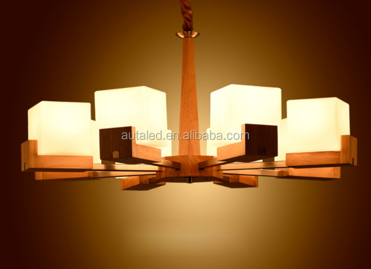 Wooden Frosted Glass Chandeliers Home Commercial LED Electrodeless Dimming Pendant Light