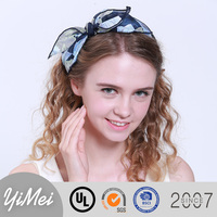 Girls Printed Flower Bow Hairband Turban Chiffon Headband Women Headband