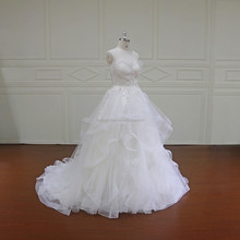 XF16024 real pictures of skirt a-line ruffle ball gown wedding dresses