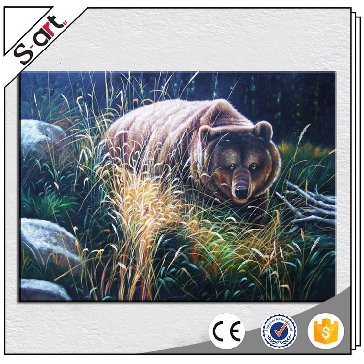 Good quality funny reproduction animal oil painting of bear