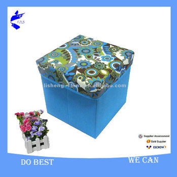 One Oversized Storage Ottoman Foot Foldable Storage Stool with Printed Organzer