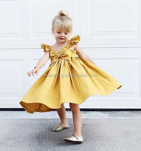 Baby Girls Cute Clothing Dress New Yellow Infant Sleeveless A-Line Children Newborn Kids Vest Bow Pleated Dresses