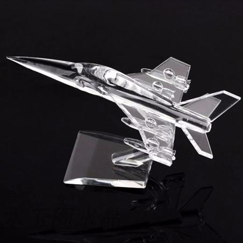 Airplane Model 17cm Simulation 3d Crystal Fighter plane model Birthday Souvenirs Business Gifts