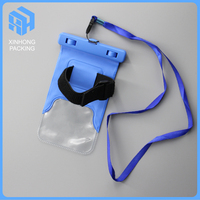 waterproof bag for mobile phone with arm belt / plastic waterproof phone bag with string
