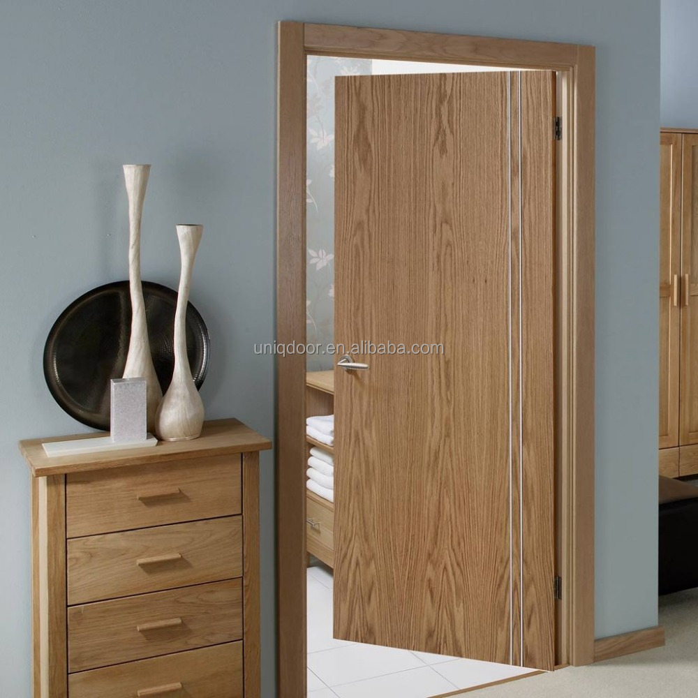 Steel strips inlay standard bedroom door cheap bedroom wooden door