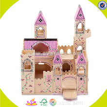 Wholesale high quality wooden doll castle top popular wooden doll castle W06A034