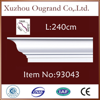 matte white thin wood pu molding for wall decor from China