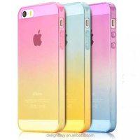 for iphone 5 5S Clear Gradient color rainbow TPU Protective case SOFT back Case Cover For iphone 5s