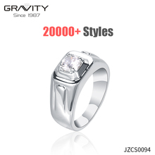 Gravity Wholesale fashion diamond engagement Rings Jewelry men 925 Sterling Silver Color white gold men ring