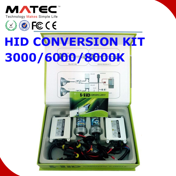 100%AC universal car 4300/6000/8000k HID headlight xenon 35/55/75W H4 H7 H11 H13 HB3 HB4 xenon super vision hid conversion kit