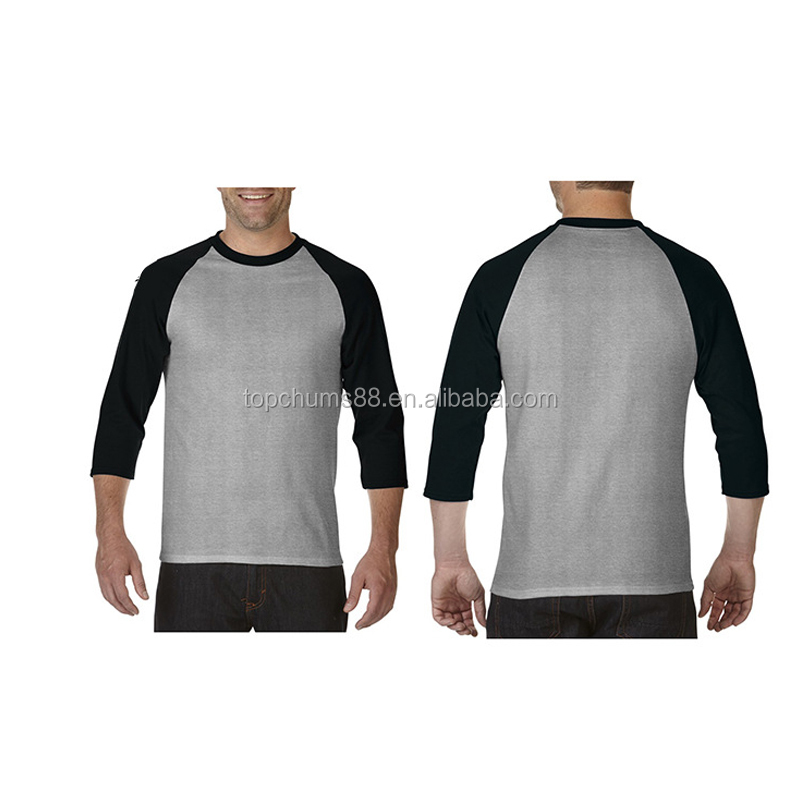 Ebay Top sale Crew Neck Men's 2-Pack Baseball 3/4 sleeve Raglan <strong>t</strong> <strong>shirt</strong>