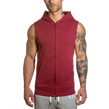 Plain Mens Drop Armhole Full Zipper Up Sleeveless Hooded Sweatshirt Gym Workout Sporting Custom Sleeveless Hoodie