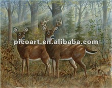 Deer couple realistic oil painting wild life oil painting vivid animal oil paintings