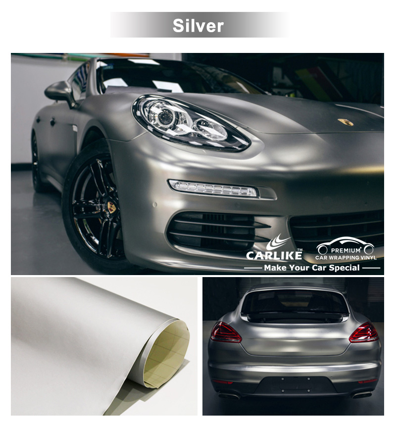 CARLIKE Removable Glue Silver Super Matte Vinyl Car Wrap