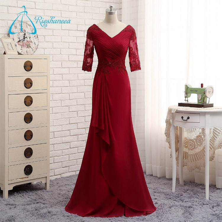 Chiffon V-Neck Appliques Pleat Floor-Length Long Red Evening Dress